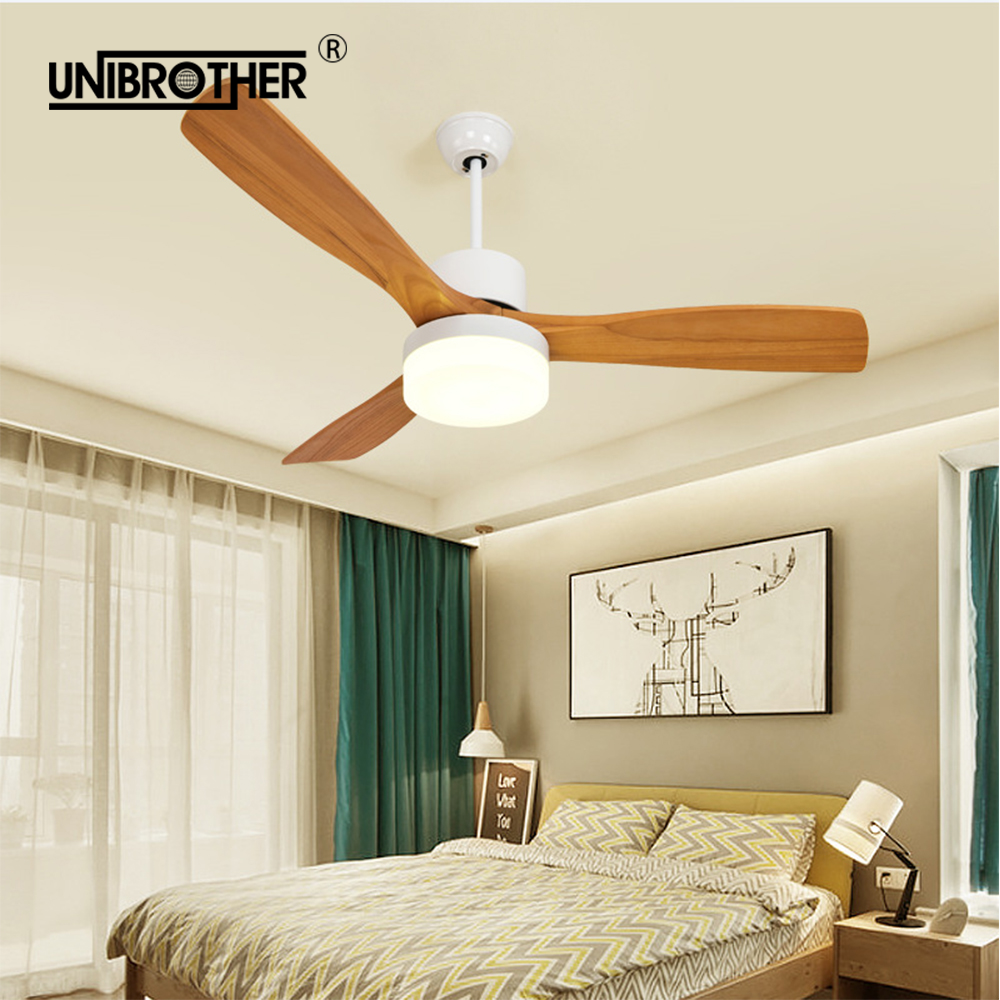 52 Inch Ceiling Fans wooden 3 Blades With remote control lamp fan creative wood 220v for living room