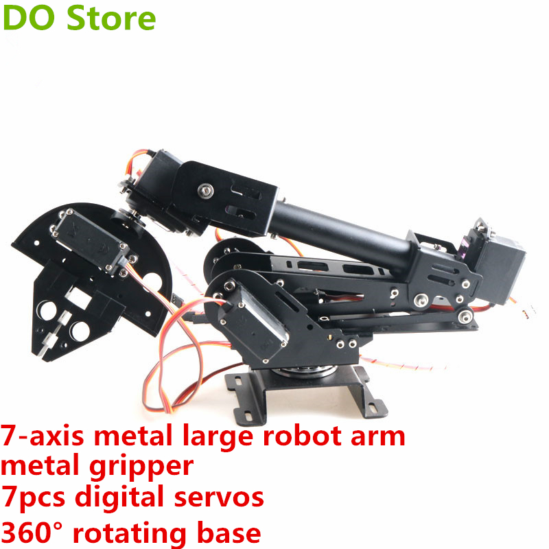 DO Store Metal 7-Axis Large Robot Arm With Gripper <font><b>360</b></font>° Rotating Base 7DOF ABB Robotic 7pcs Digital <font><b>Servo</b></font> DIY For Arduino image