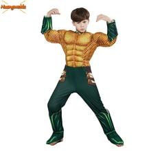Aquaman Costumes for Kids Justice Alliance Sponge Muscle Aquaman Cosplay Anime Children's Halloween Superhero Costumes Jumpsuits