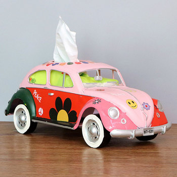 Flower Retro Iron Bus Tissue Box Model Figurines Car Craft Home Decoration Accessories for Living Room Ornaments for Home Decor 13