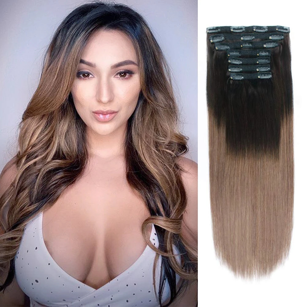 Kayla 120g Volume Series Brazilian Machine Remy Straight Clip In Human Hair Extensions Full Head 7Pcs 14 to 24 inch