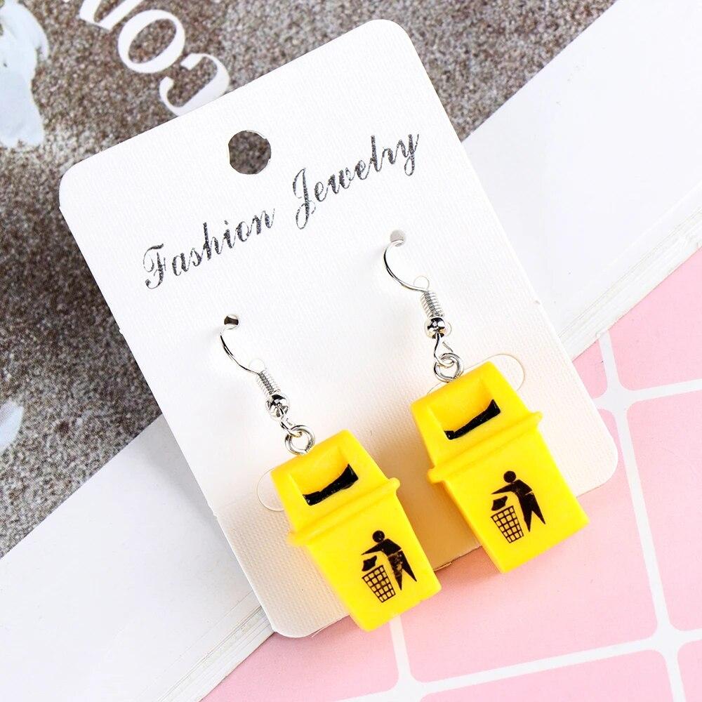 2020 Creative Handmade Personalized Funny Yellow Trash Can Drop Earrings Fashion New Design Dangle Earrings Jewelry Pendientes Drop Earrings Aliexpress