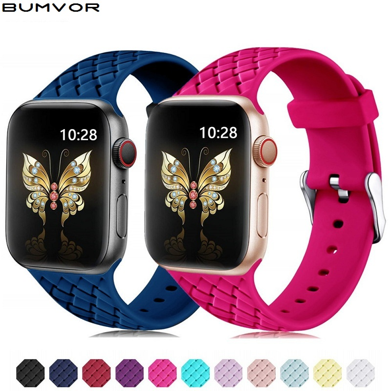 Silicone Strap For Apple Watch 5 Band 44mm 40mm Iwatch Band 42mm 38mm Woven Pattern Bracelet Watchband For Apple Watch 5 4 3 2 1