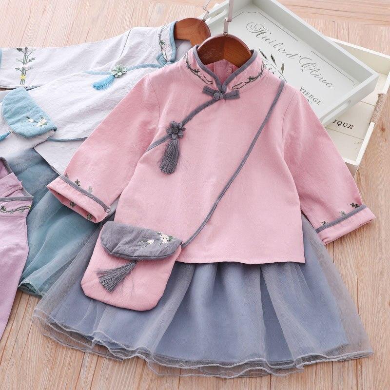 Girls Improved Chinese Clothing Jacket Skirt Spring 2019 New Style Chinese Costume Chinese-style CHILDREN'S Dress Autumn Clothin