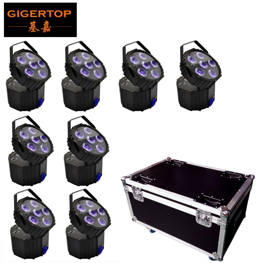 8IN1 Charging Flight Case Pack 6 X 18W Battery Wireless DMX512 Led Par Light Charging Socket Lifting Handle Led Display