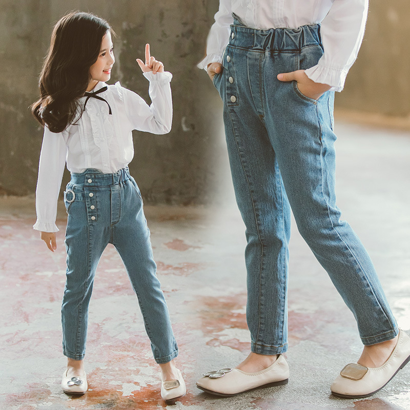 Childrens clothing new 2019 autumn white shirt+jeans 2pcs big girls clothing set autumn teens girls clothes jeans suit
