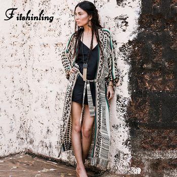 Fitshinling Geometric Vintage Beach Kimono Flare Long Sleeve Long Cardigan With Sashes Beach Cover Up Sexy Boho Holiday Covers