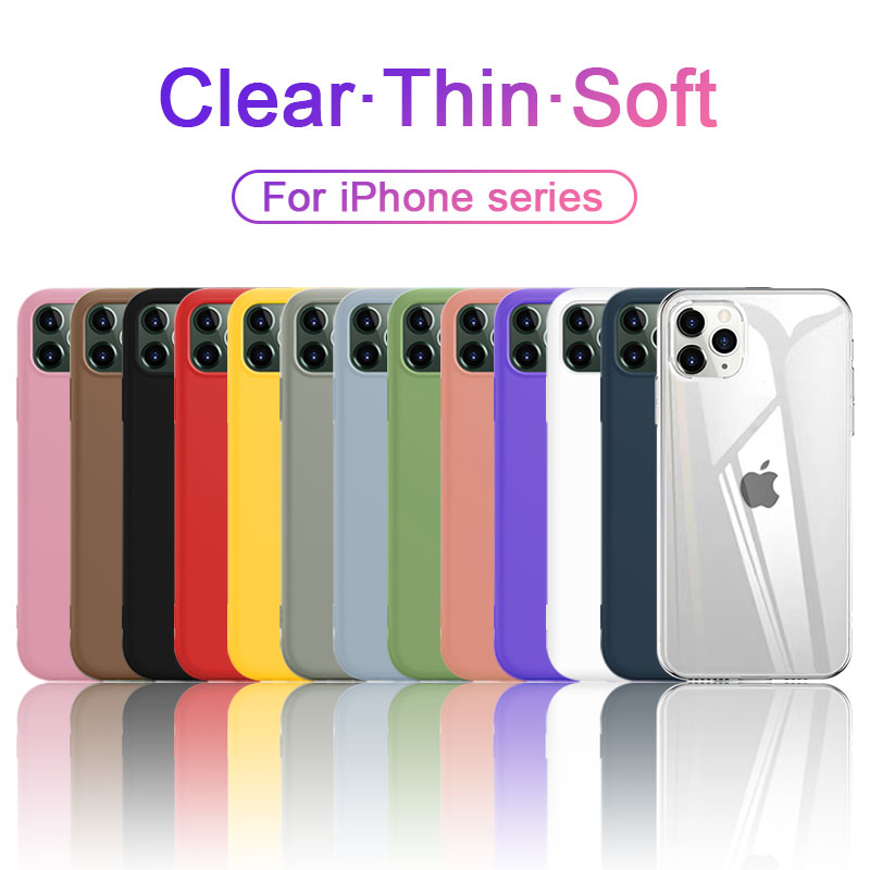 Ultra <font><b>Thin</b></font> Klar Silikon Telefon Fall Für <font><b>iphone</b></font> 11 Pro <font><b>Max</b></font> Fall <font><b>iphone</b></font> XR <font><b>XS</b></font> <font><b>Max</b></font> <font><b>X</b></font> 7 8 6 6S Plus Weichen TPU Transparent Rückseite image