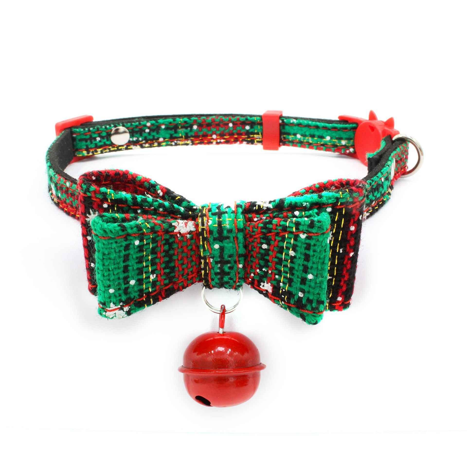 猫の首輪繊維ネックリングキティベルクリスマスホリデー猫ボウ首輪離脱調節可能なネックレス猫のアクセサリー