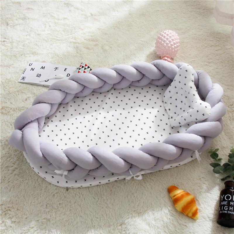 Newborn Bassinet Bumper Baby Bassinet Bed Portable Baby Crib Lounger For Newborn Crib Cradle Infant Toddler Sleep Nest Pillow