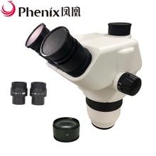 Pherix 6.2x-100x зум стерео непрерывный тринокулярный микроскоп для ювелирных изделий/телефона ремонт микроскопа головка