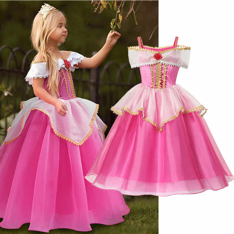Meisjes Doornroosje Jurk Little Kids Aurora Prinses Baljurk Kinderen Fancy Party Prom Jurken Rose Red Off Shoudler Kostuum