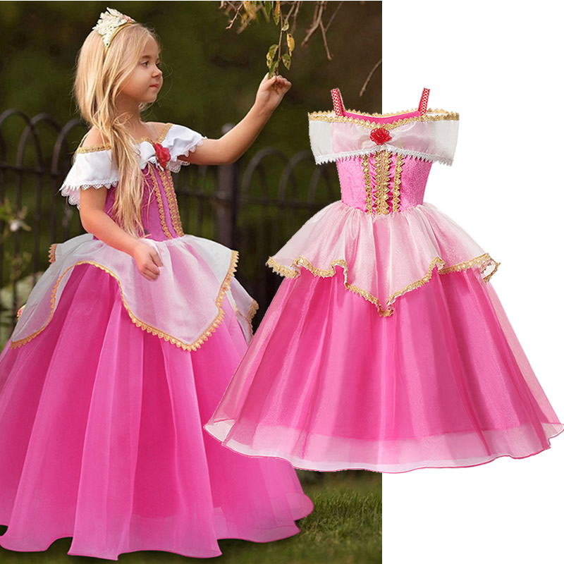 Girls Sleeping Beauty Dress Little Kids Aurora Princess Ball Gown Children Fancy Party Prom Frocks Rose Red Off Shoudler Costume