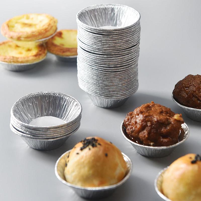 100 Pcs Round Egg Tart Mould Disposable Tin Foil Egg Tart Mould Round Aluminum Foil Mini Pie Tart Base