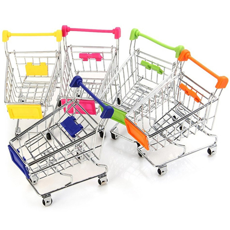 Convenient Supermarket Hand Trolley Mini Shopping Cart Desktop Decoration Storage Toy Gift  Shopping  Pretend Play Toys
