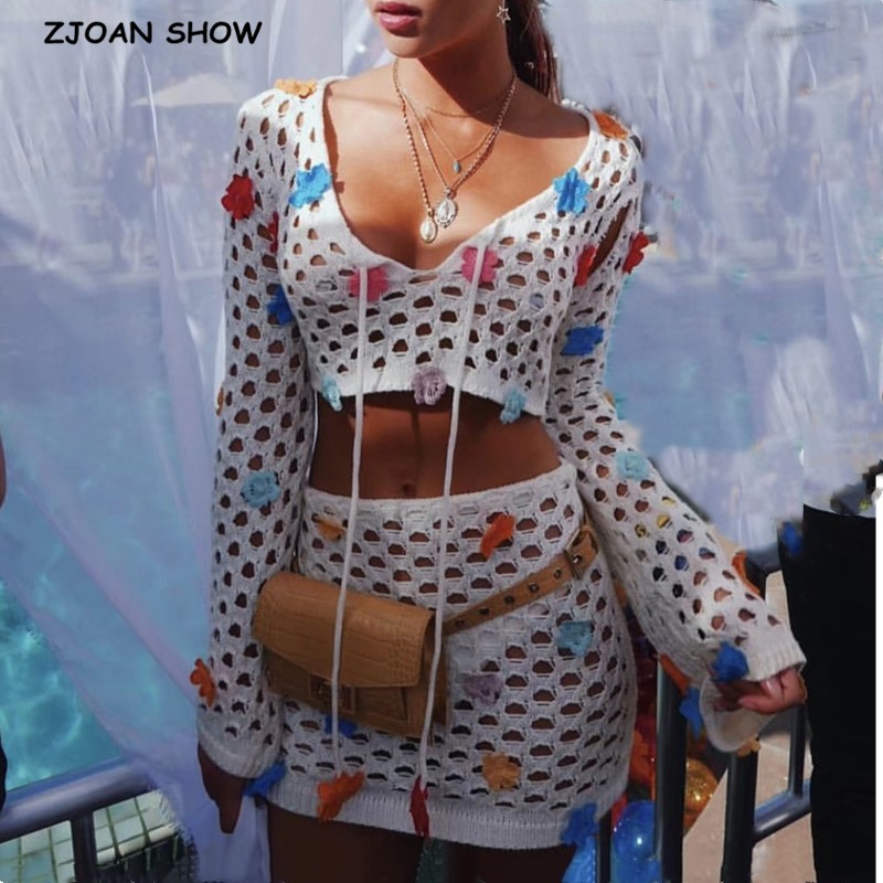 2020 Bohemia Spliced 3D Flower Hand Crochet Cardigan Sweater Retro Women Long Flare Sleeve Tide Bow Knitted Knitwear Jumper