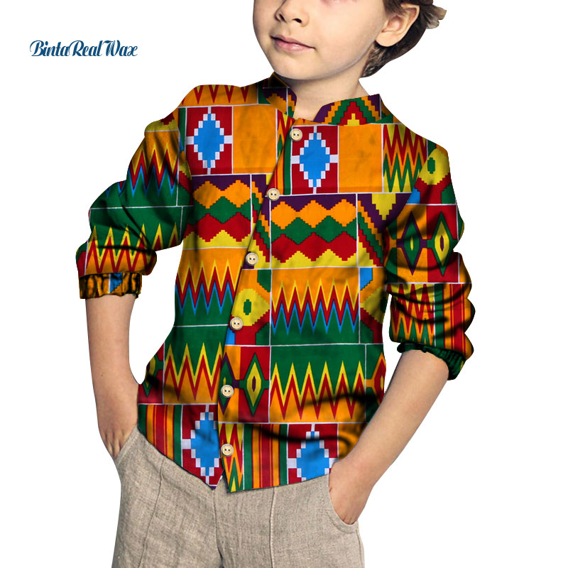 Fashion New Boy's Heart Pattern Tops Bazin Riche African Wax Print Patchwork Cotton Shirt For Boys Children Kids Clothing WYT384