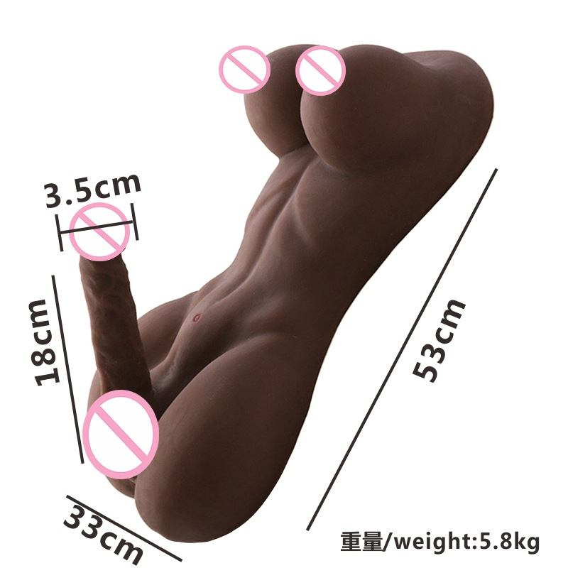 18cm Big Penis Boobs <font><b>Half</b></font> Body <font><b>Sex</b></font> <font><b>Doll</b></font> for Gay Hot Adult Realistic Pussy Lifelike Torse Coffee Double Human Dildo Shemale <font><b>Dolls</b></font> image