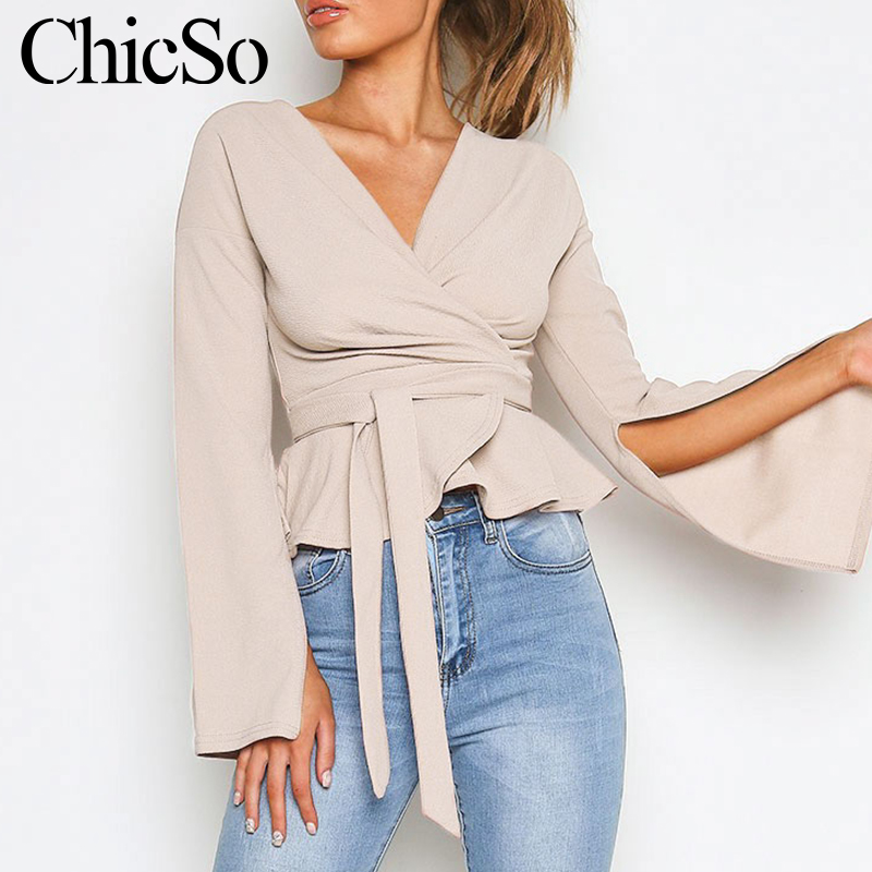 MissyChilli Long Flare Sleeve V Neck Bandage Blouse Women Elegant Bodycon Knitted Shirt Top Autumn Winter Sexy Ruffle Blouse2019