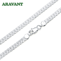 925 Silver 6mm Necklace Link Chains Men Fashion Jewelry Accessories