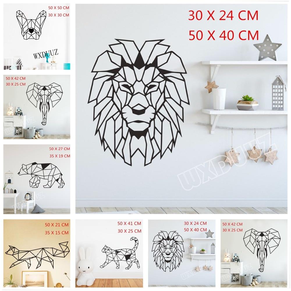 Animal Lion Elephant Geometric Mural Vinyl Applique Plane Transfer Art Decals Children's Room Decoration Wall Stickers D29