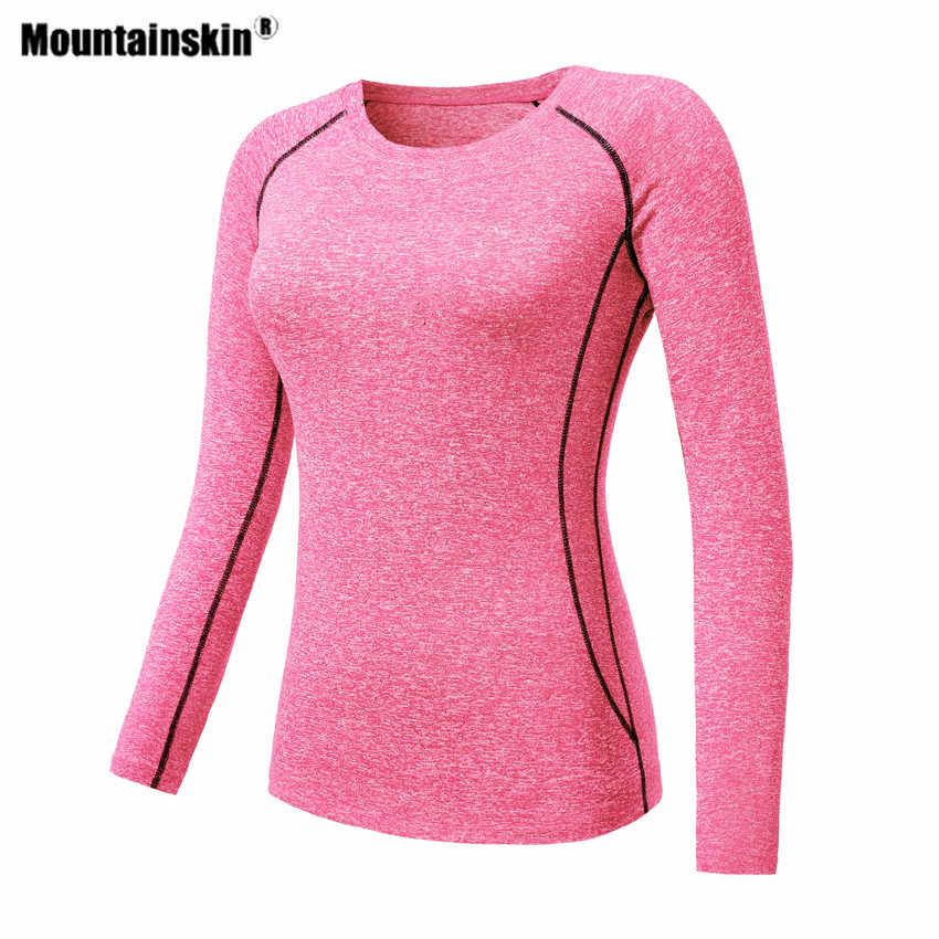 Mountainskin נשים טיולים מהיר ייבוש חולצה ארוך שרוול חיצוני ספורט ריצה לטפס קמפינג טרקים נשי יוגה מעיל VB103