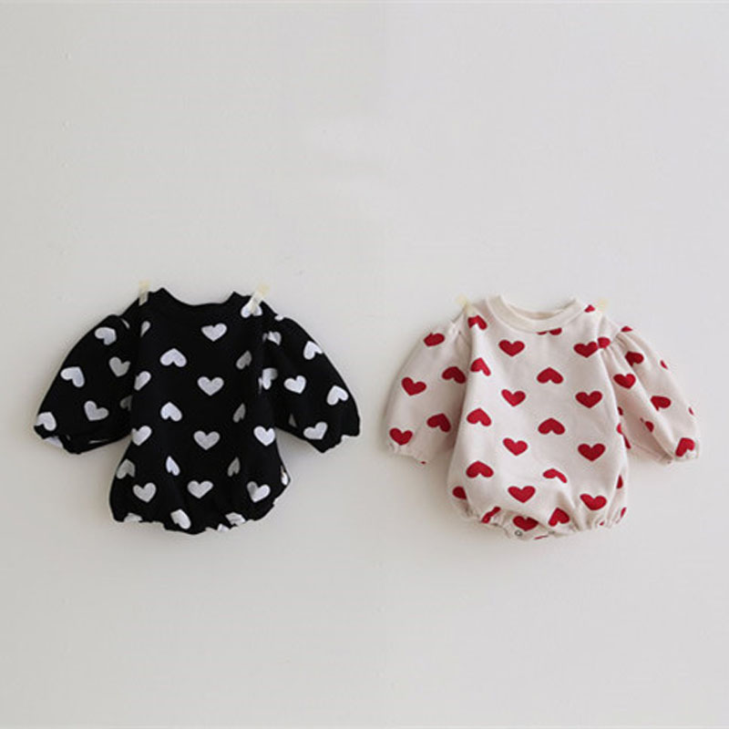 MILANCEL Baby One Piece Heart Print Baby Girls Bodysuits Puff Sleeve Baby Suit Baby Fur Jumpsuit