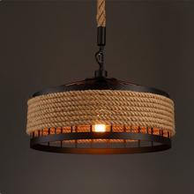 1 шт Винтаж промышленных пеньковая веревка подвесной светильник