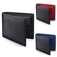 2020 Nieuwe Carbon Fiber Patroon Paspoort Mannen Purse Casual Twee Fold Vrouwen Lederen Multi-Card Verandering Pocket Korte Vrouwelijke portemonnee Clip