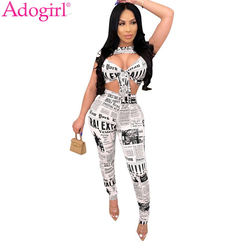 Adogirl Newspaper Print Casual Two Piece Set Women Sexy Front Tie Strapless Short Sleeve T Shirt Crop Top Pencil Pants Suits