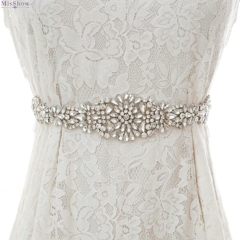 Misshow Rhinestone Crystal Wedding Belt Diamond Bride Bridal Dress Sash With Satin Ribbon 2020 Cheap Wedding Accessories