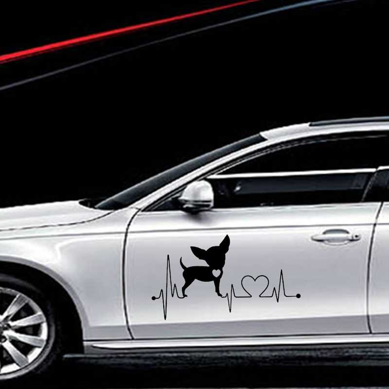 Виниловая наклейка с принтом собаки прекрасный Водонепроницаемый автомобильные наклейки окна автомобиля для укладки волос украшение милый комплект из двух частей сердце автомобильные наклейки с собаками