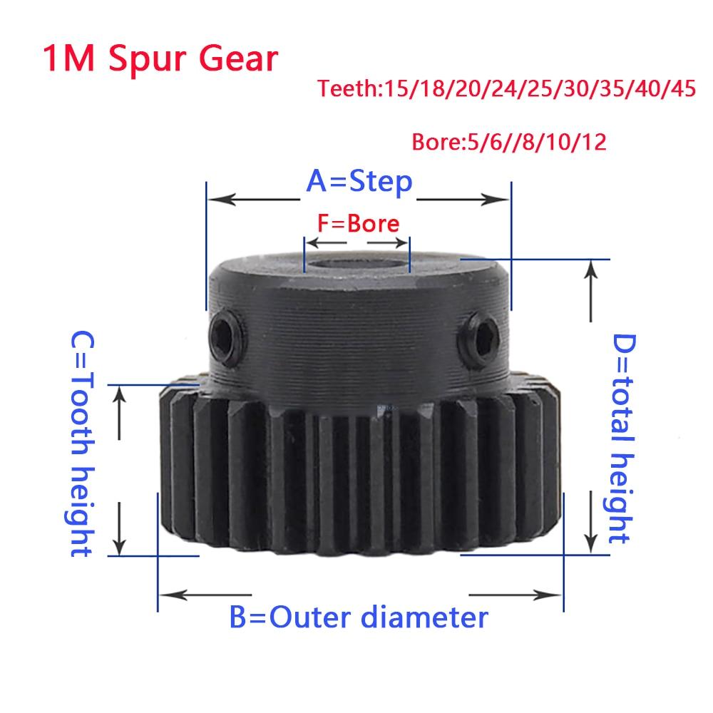 1M Convex gear 15 18 20 24 25 30 35 40 45 Teeth Metal Transmission Gear 5/6//8/10/12 Bore 45# Steel Blackening Treatment