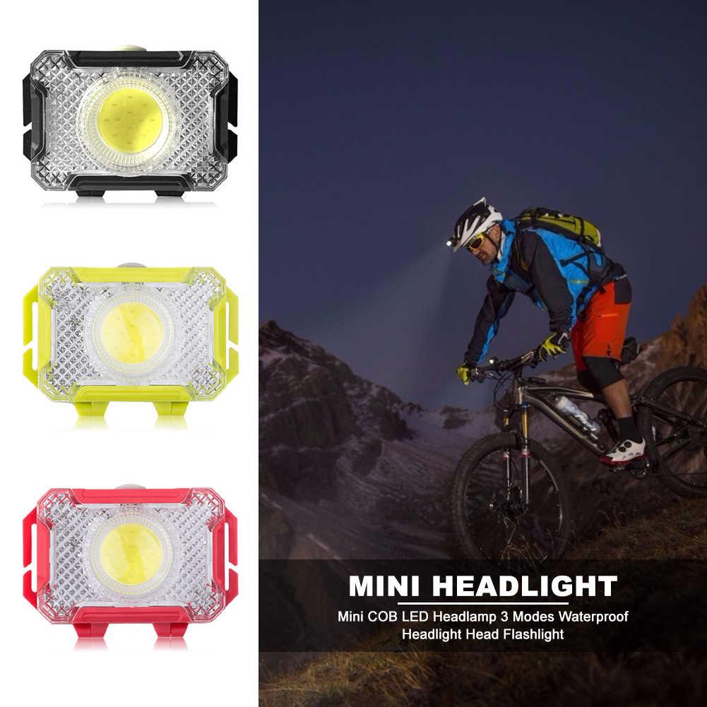 ポータブルミニ cob led ヘッドランプヘッドライト 3 モード超軽量ヘッドライトトーチ屋外キャンプ夜釣り用品