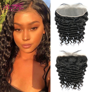 Image 1 - 13x4 תחרה פרונטאלית שיער טבעי Loose גל שיער לא מעובד שקוף תחרה פרונטאלית עם בייבי שיער מולבן קשרים