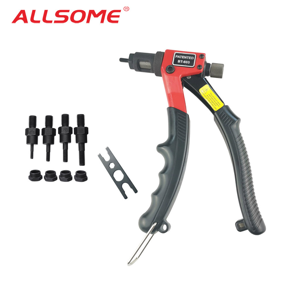 ALLSOME BT-603 Manual Riveter Gun (M3/M4/M5/M6) Hand Rivet Tool Kit Rivet Nut Setting Tool Nut Setter