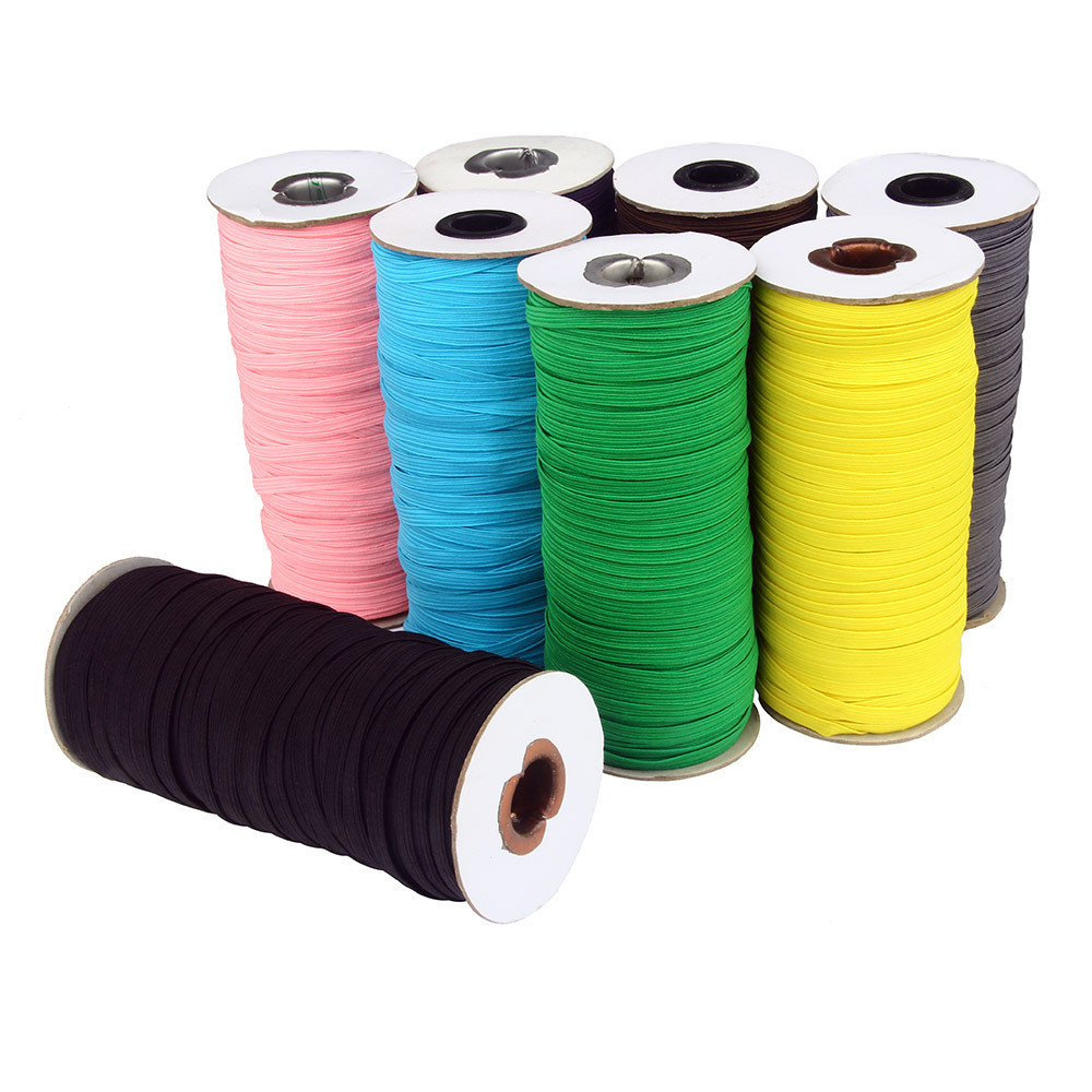 100yard 6mm Colorful Ear Hanging Rope Flat Elastic Band Comfortable Elastic Rubber Band  DIY Craft Sewing Garment Accessories