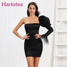 Karlofea elegancka sukienka damska stylowa jedna z długim rękawem Clubwear seksowna satyna Ruched Mini sukienka ślubna impreza celebrytów sukienka stroje