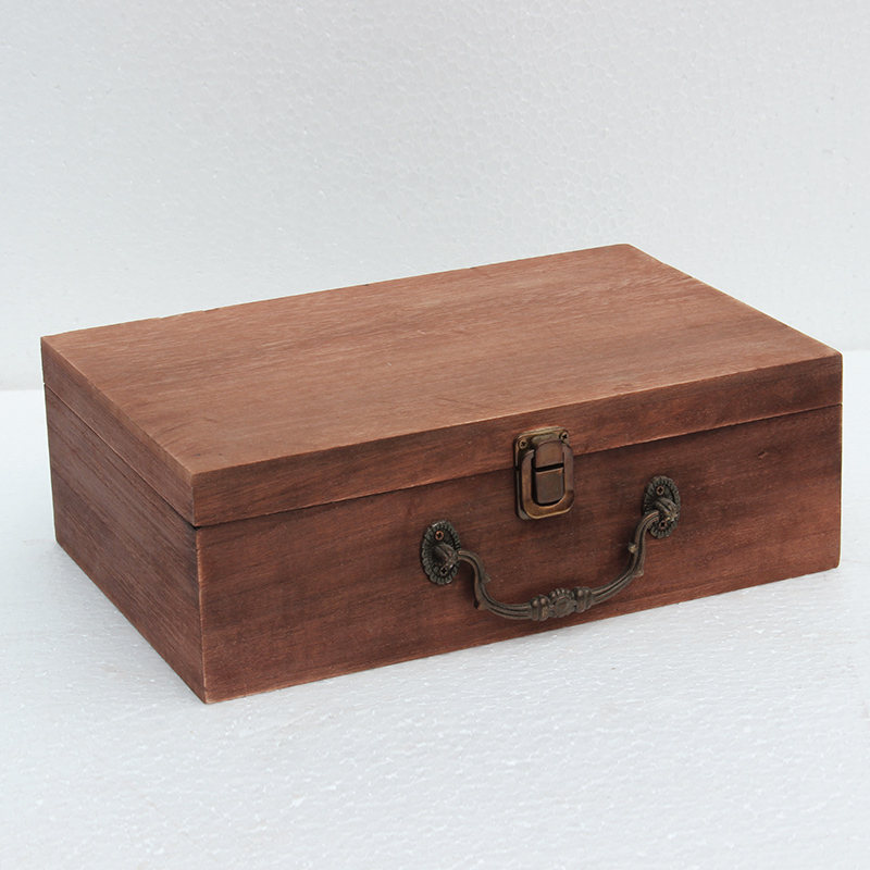 New Wooden box receiving box desktop solid retro gift packaging rectangular wooden storage box clamshell Receive a case