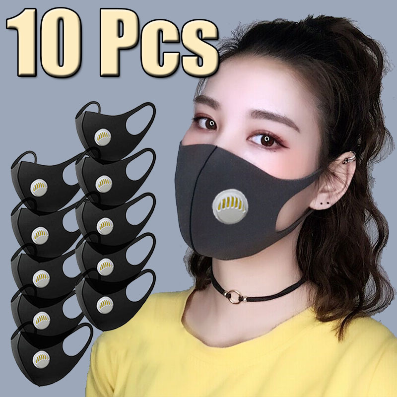 10Pcs Face Mouth Mask Filter Mouthmask Anti-Infection Virus Activated Carbon Anti-dust With Air Valve Facemask Washable Reusable