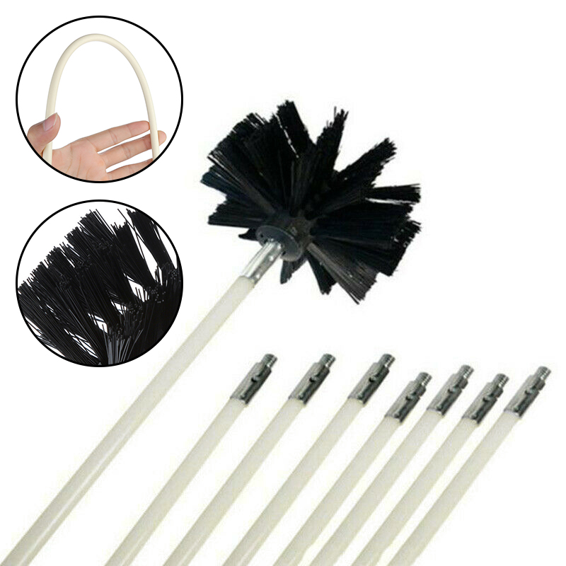 Chimney Inner Wall Nylon Bristles Cleaning Brush Connector Electric Drill Rods