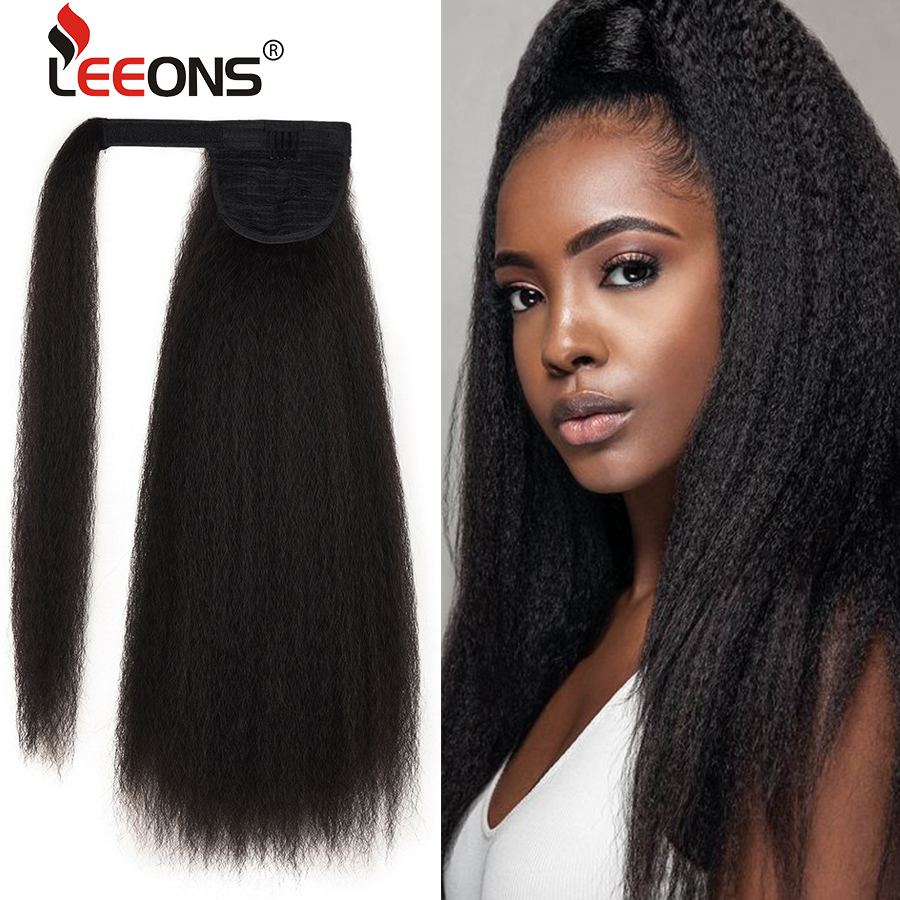 Leeons New Long Afro Kinky Curly Ponytail Synthetic Hair Pieces Natural Drawstring Ponytail Hair Extensions False Hair Pieces