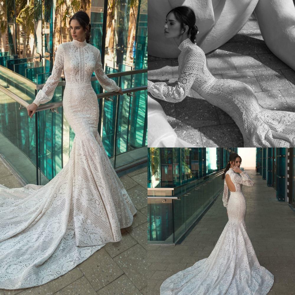 Vintage Lace Mermaid Wedding Dresses Backless High Collar Sweep Train Garden Wedding Gowns Long Sleeves Vestido De Novia