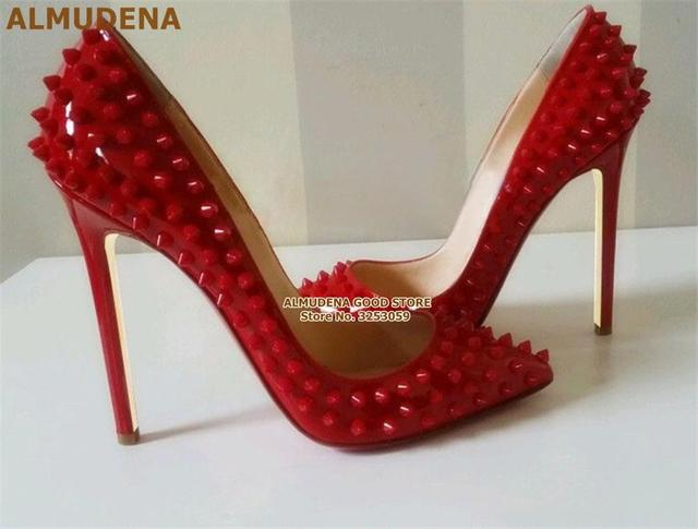 ALMUDENA 8 10 12cm Stiletto Heels Rivets Pointed Toe Shoes Red Pink Black Studded Wedding Shoes Full Spikes Dress Pumps Size45 4