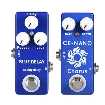 HOT-MOSKY 2Pcs Guitar Effect Pedal :1Pcs CE-NANO Electric Guitar Chorus Effect Pedal Full Metal Shell True Bypass & 1Pcs Deep Bl