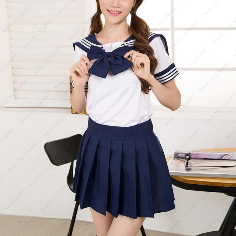 Women Japanese School JK Uniform Set Girls Student Pleated Skirt Cosplay Costume