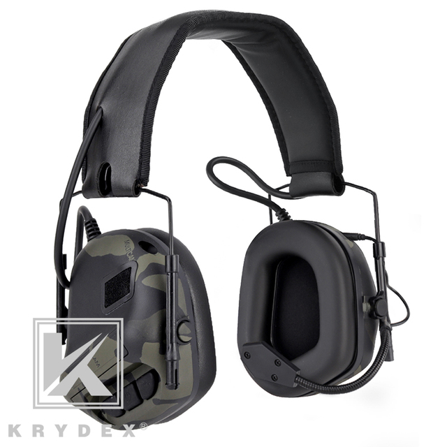 KRYDEX Tactical Headset With Micphone Peltor Detachable Noise Reduction Sound Pick Up Communication Electronic Headphone MCBK