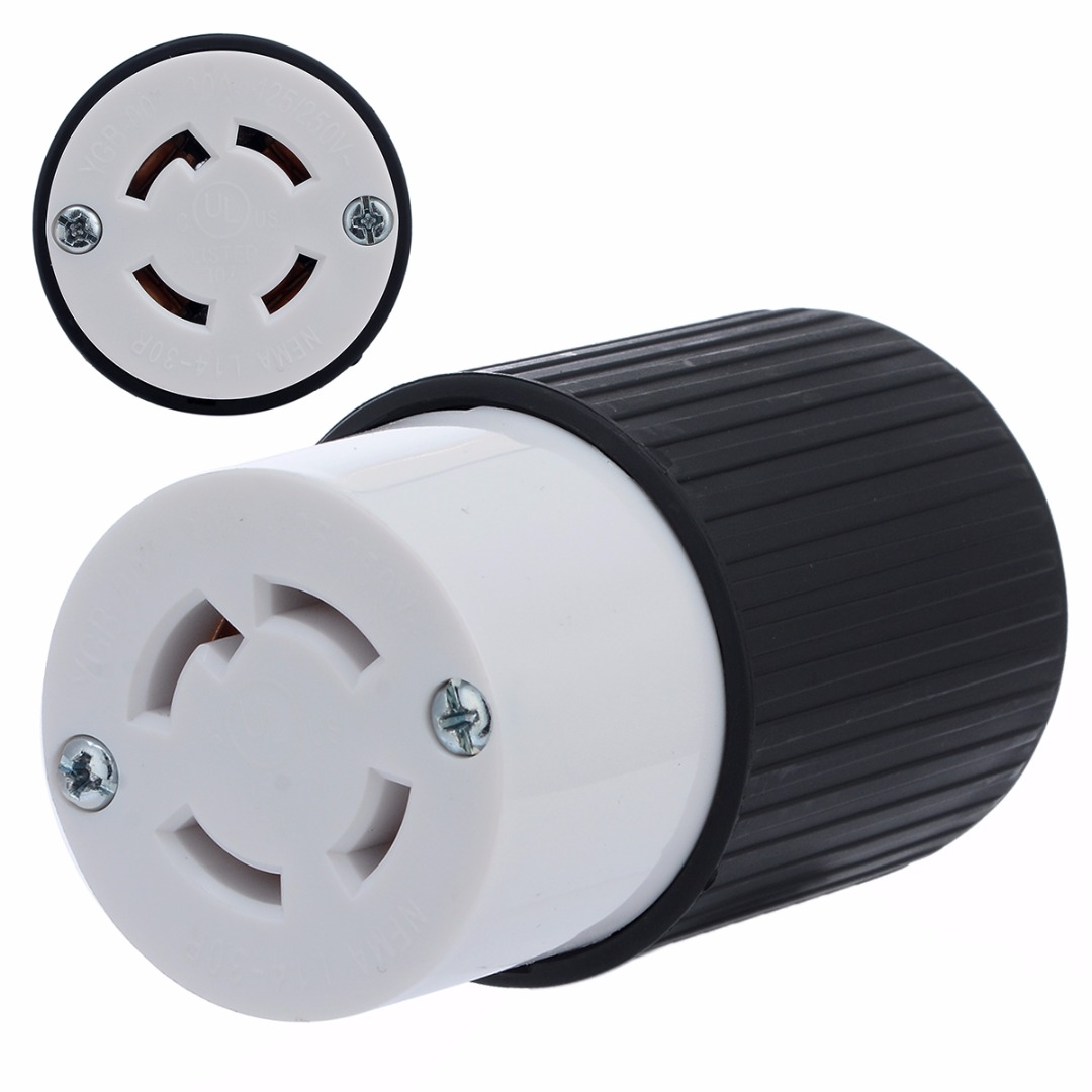 1pc 30 Amps Twist Lock 4-Wire Electrical Female Plug Receptacle 125/250V Electrical Supplies Generator Socket