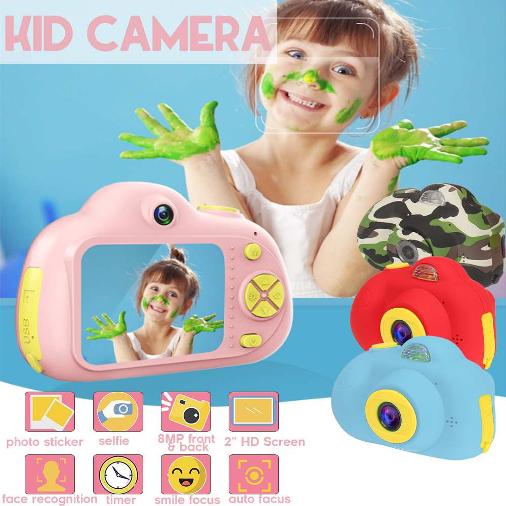 Chargable 2 Inch HD Screen Digital Mini Kids Camera Cartoon Cute Camera Toys Outdoor Photography Props For Child Birthday Gift