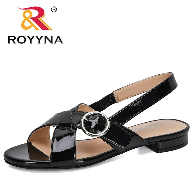 ROYYNA/Новинка 2020 года; дизайнерская Летняя обувь; босоножки на плоской подошве без застежки с открытым носком; женские сандалии в римском стиле; Mujer Sandalias; женские вьетнамки|Боссоножки и сандалии|   | АлиЭкспресс